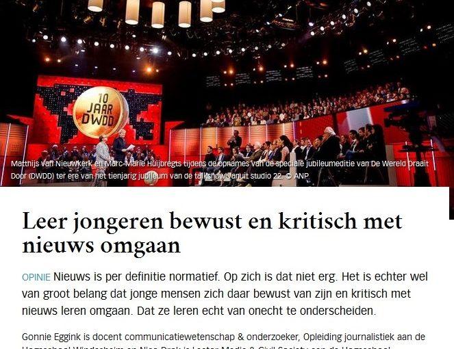 """Docenten in de Volkskrant: """"Leer jongeren bewust en kritisch met nieuws omgaan"""""""